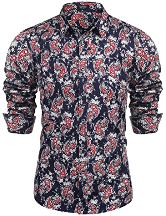c6b37a66298 COOFANDY Men s Paisley Cotton Long Sleeve Shirt Floral Print Casual Retro Button  Down Shirt(Navy