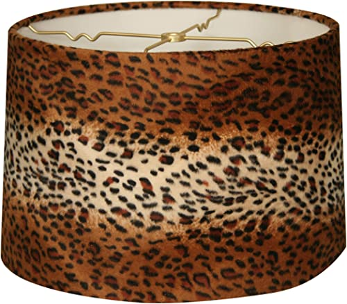 Royal Designs HB-621-16 Shallow Drum Lamp Shade, 15 x 16 x 10, Leopard