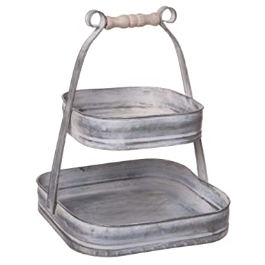 Double Tier Square Serving Display Stand with Handle, Rustic Galvanized Metal, Small, 10-inch