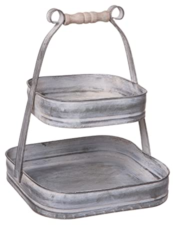 Rustic Galvanized Metal 55746-TQH Double Tier Square Serving Display Stand with Handle Small 10-inch Red Co