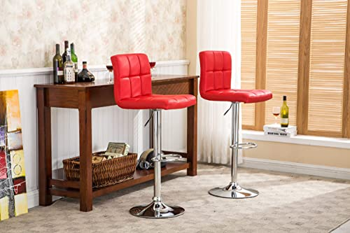 Roundhill Furniture Swivel Red Bonded Leather Adjustable Hydraulic Bar Stool