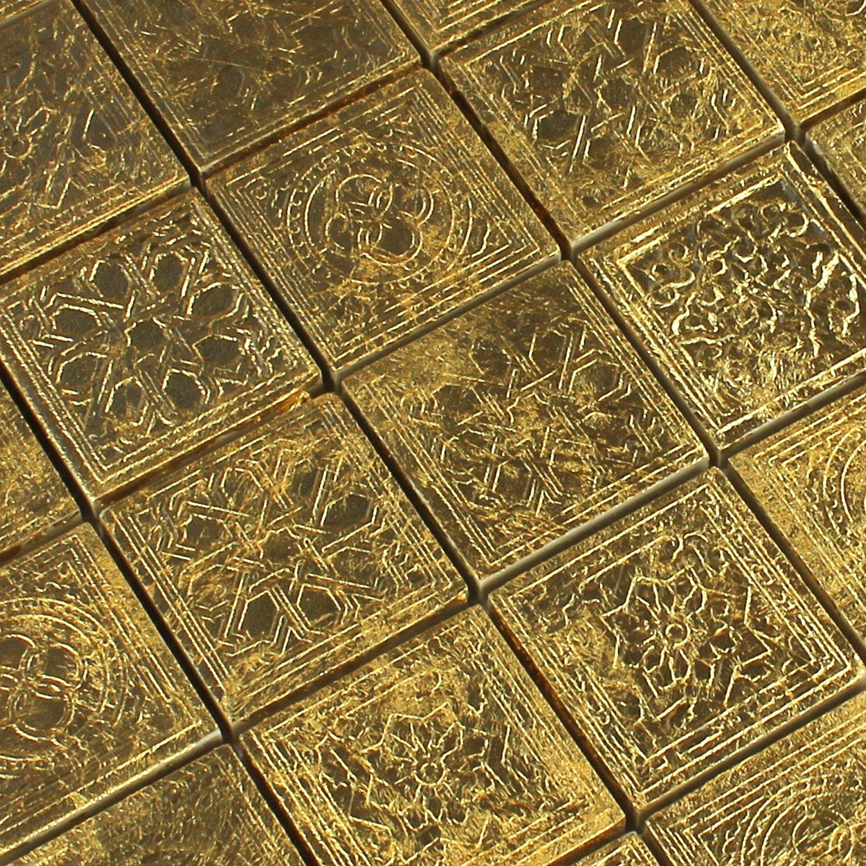 Keramik Effekt Mosaik Fliesen Gold Ornament 48x48x10mm