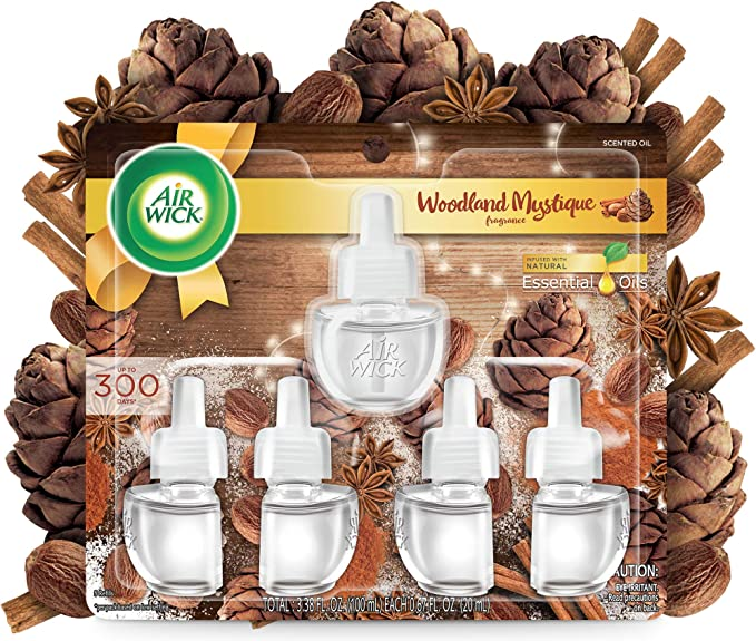 Air Wick Plug in Scented Oil 5 Refills, Woodland Mystique, Fall scent, Fall spray, (5x0.67oz), Essential Oils, Air Freshener, Packaging May Vary
