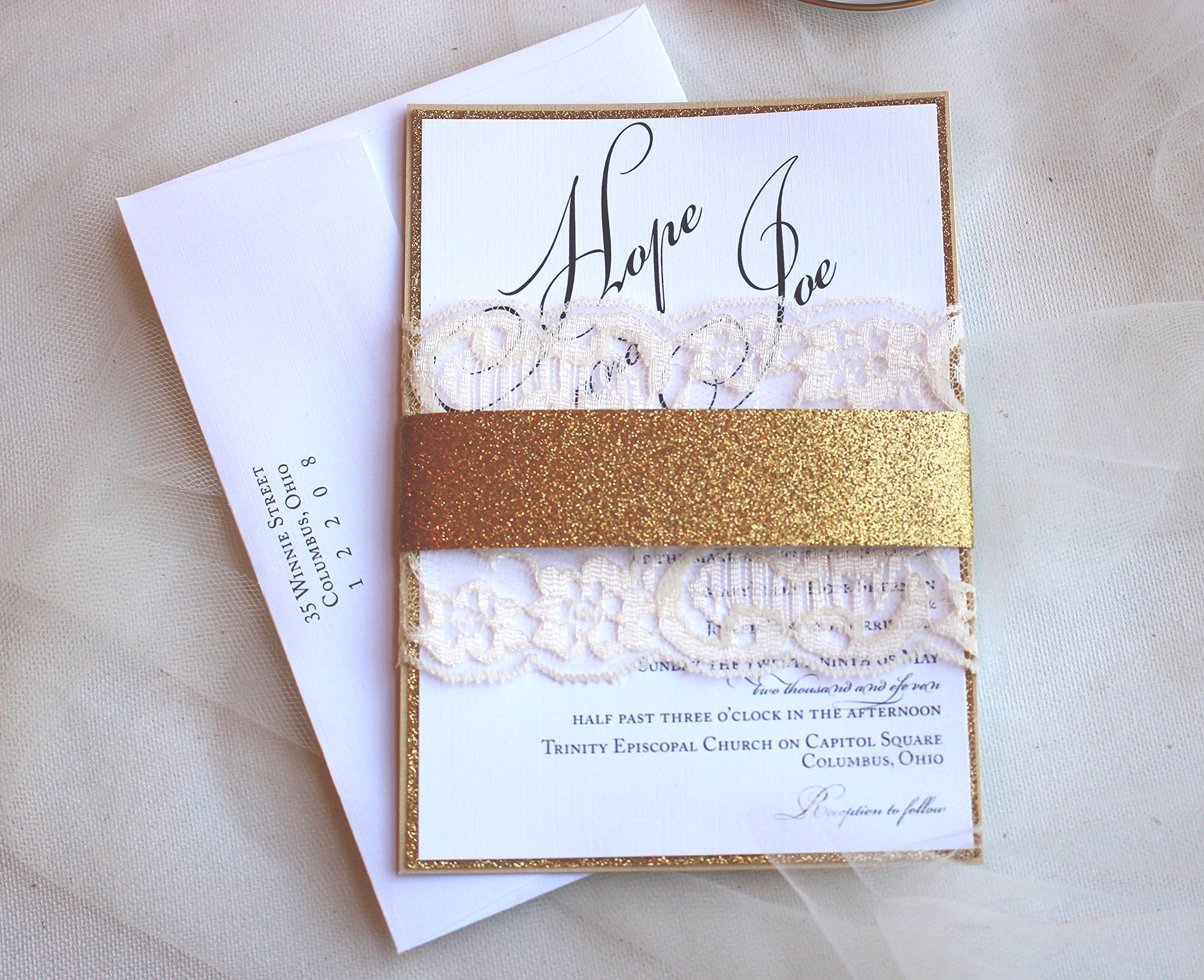 Glam Gold Glitter and Lace Wedding Invitations (Set of 50) by Pink Orchid Invitations