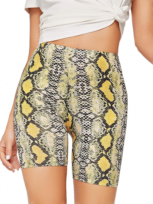 WDIRARA Women's Slim Fit Elastic Waist Leopard Print Sporty Short Legging