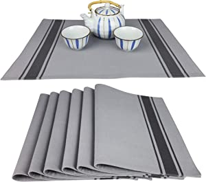 100% Cotton Woven Table Placemat Set (6 Pack of Cloth Placemats), French Stripe, 14 in x 20 in (Formal Grey)