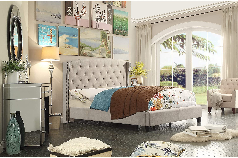 Rosevera Wingback headboard Upholstered Panel Bed, Full, Beige