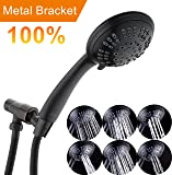 Oil-Rubbed Bronze High Pressure Showerhead Shower Kit 6 Setting Shower Head Handheld with Adjustable Brass Bracket Holder and Extra Long Flexible Stainless Steel Hose