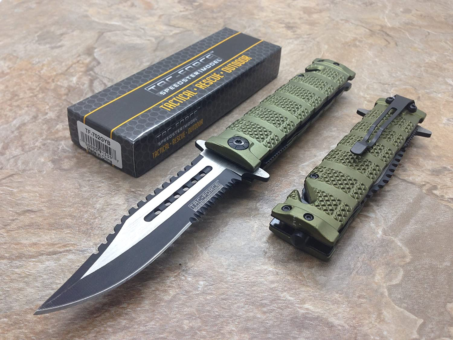This is an image of the TAC Force Assisted Pocket Sawbaw Bowie Knife with silver and black blade color combination.