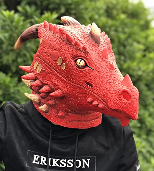amazlab fire dragon mask for halloween costume party decorations halloween props halloween supplies