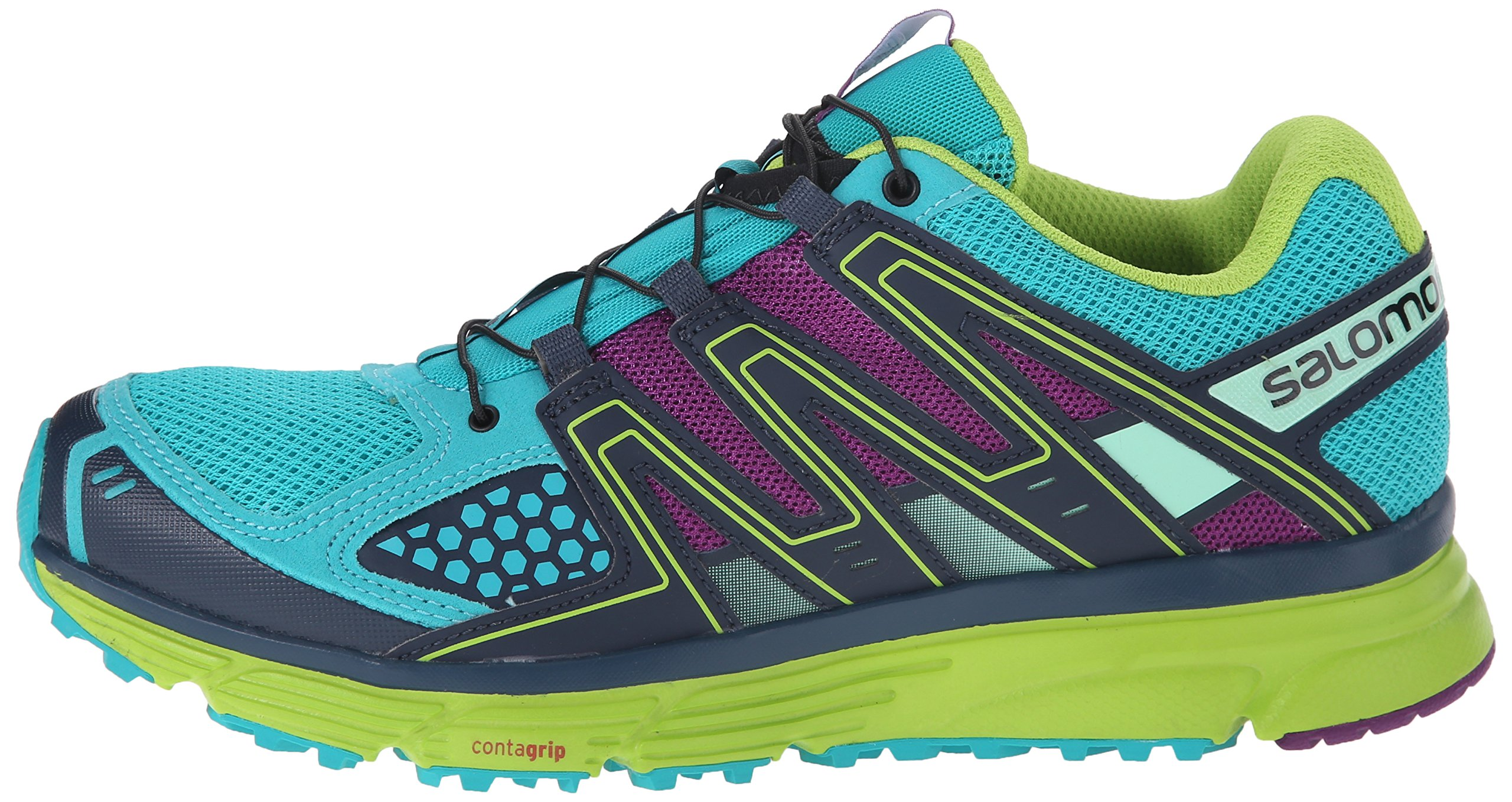 Salomon Women's X-Mission 3 W Trail Running Shoe, Teal Blue/Granny Green/Passion Purple, 7.5 B US by Salomon (Image #5)