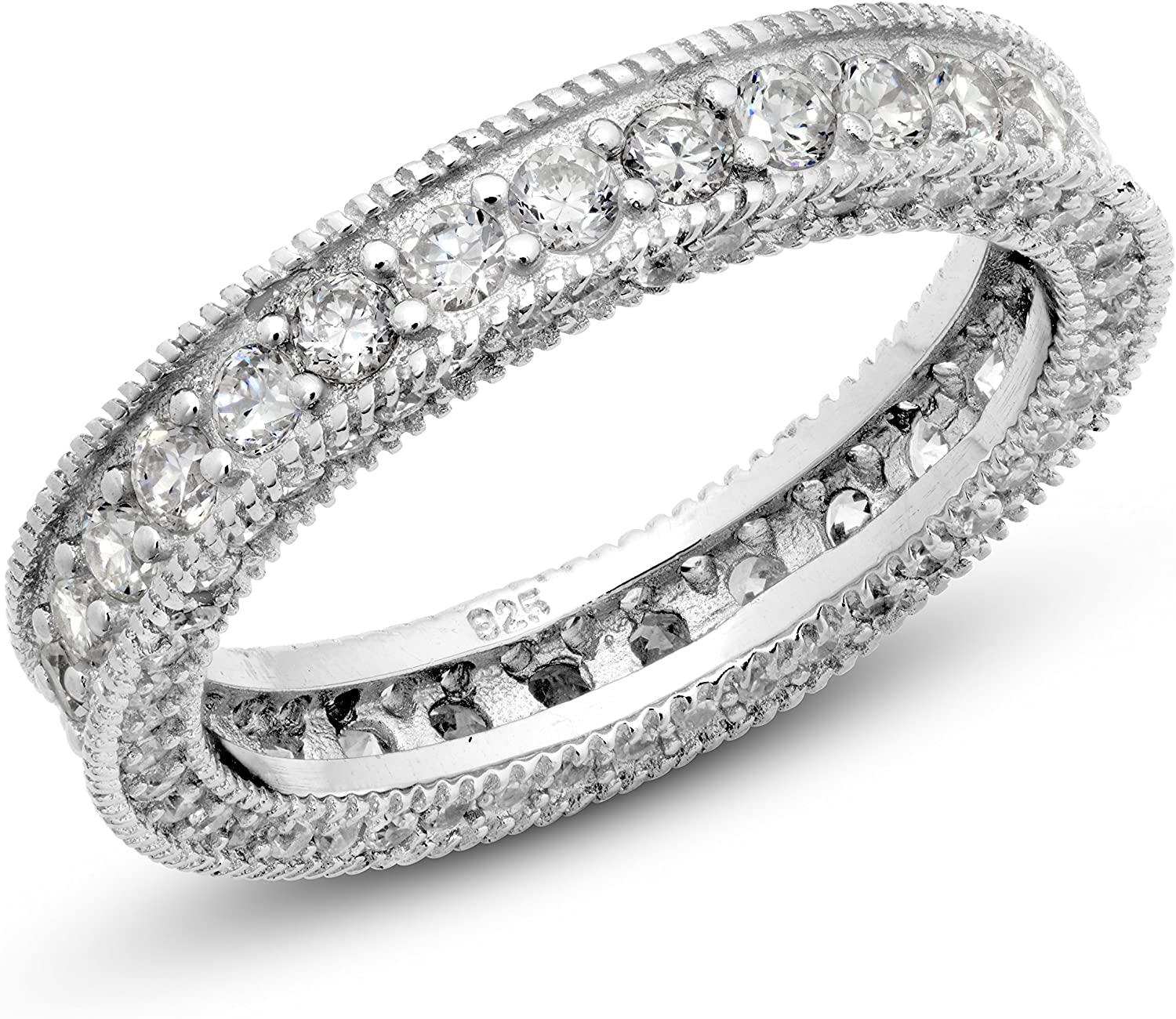 Stylish Sterling Silver Ring Genuine Solid Stamped 925 With 2.5mm Cubic Zirconia