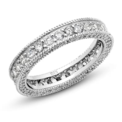 round sterling gold cz p plated floating band in white zirconia eternity cubic ring over wedding bands silver