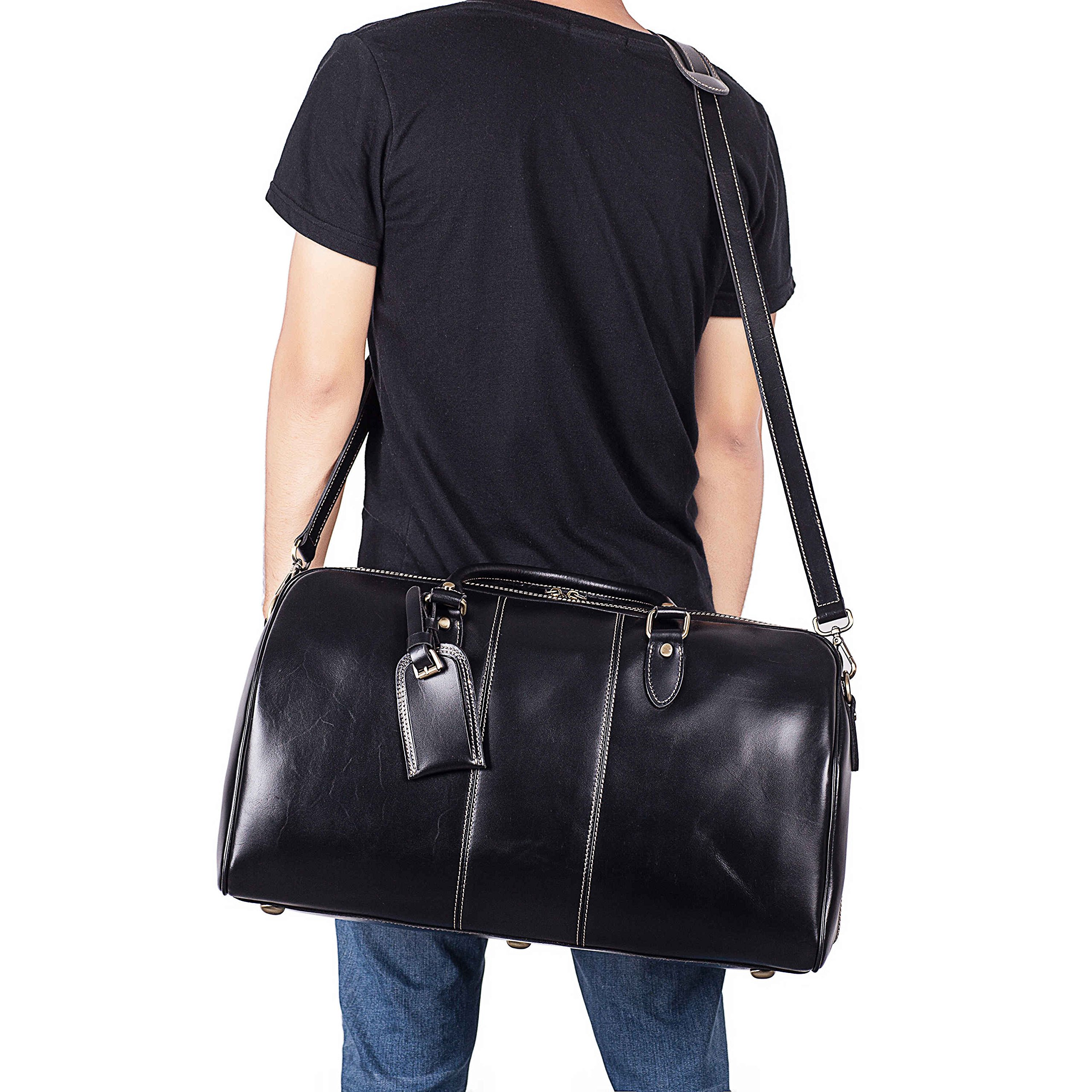 Leather Duffel Bag Travel Overnight Gym Sports Weekender Tote Bags Black by Kissloves (Image #5)