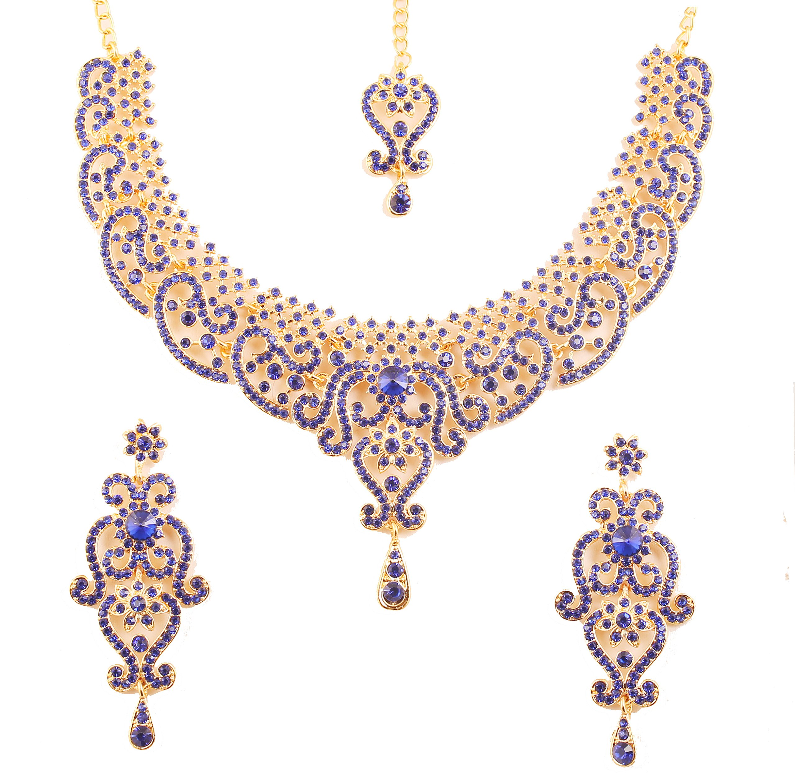 Touchstone New Indian Bollywood Fine Filigree Red Faux Grand Bridal Jewelry Necklace Set in Antique Gold Tone for Women.