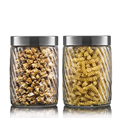 Klikel Glass Canister | Set of 2 Kitchen Containers With Lids | Tight Seal For Flour Sugar Pasta Cereal | Capacity 50oz / 1500ml 4.25 x8.5 h.