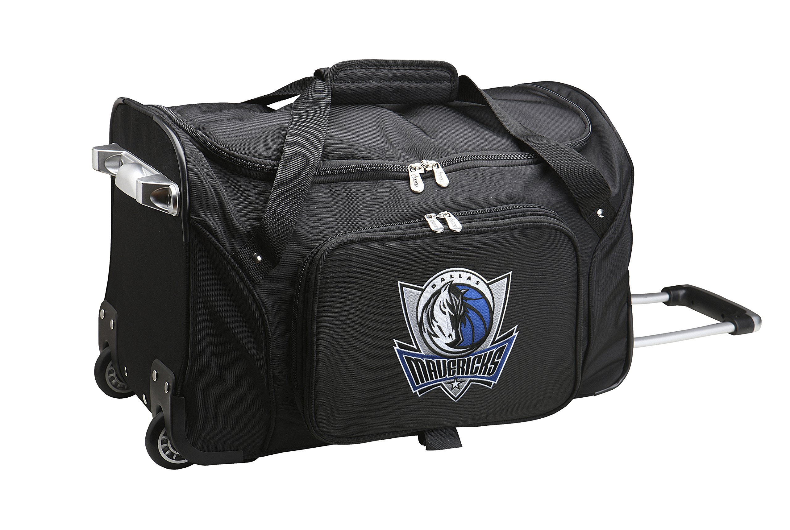 NBA Dallas Mavericks Wheeled Duffle Bag, 22 x 12 x 5.5'', Black