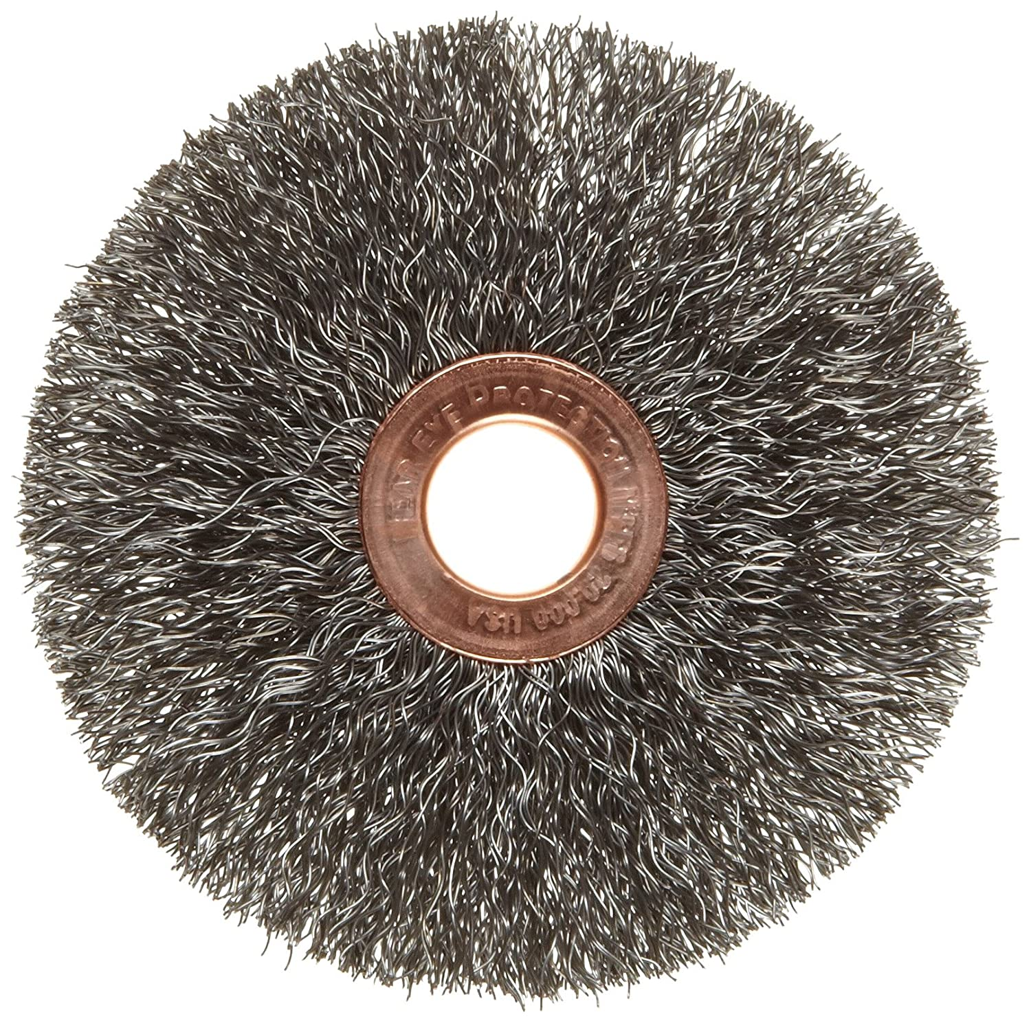 Steel Round Hole 1//2 Arbor Weiler Copper Center Wire Wheel Brush 20000 rpm 5//8 Brush Face Width 1 Bristle Length Crimped Wire 3 Diameter 0.0104 Wire Diameter