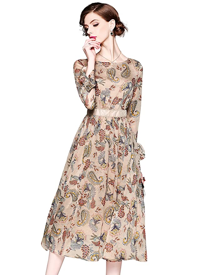 Womens Summer Bell Sleeve Floral Print Casual Boho A-line and Flare Midi Dress at Amazon Womens Clothing store: