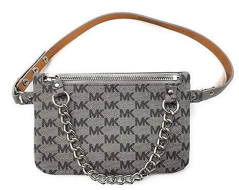 befaab2aa6b049 Michael Kors MK Fanny Pack Belt with Pull Chain, Black/Grey, Medium:  Amazon.ca: Luggage & Bags