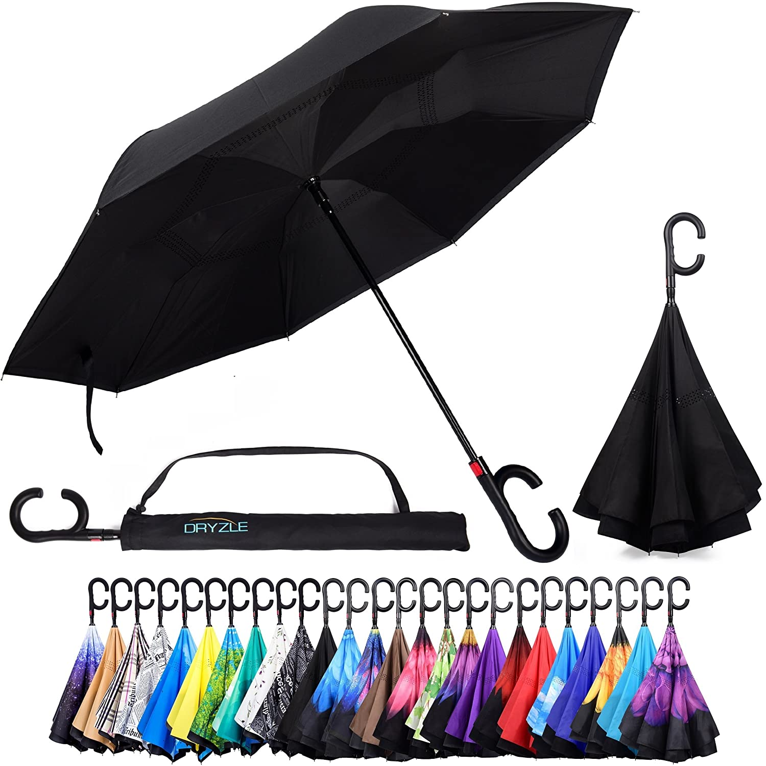 690eb2b53d48a Reverse Inverted Inside Out Umbrella - Upside Down UV Protection Unique  Windproof Brella That Open Better Than Most Umbrellas, Reversible Folding  ...