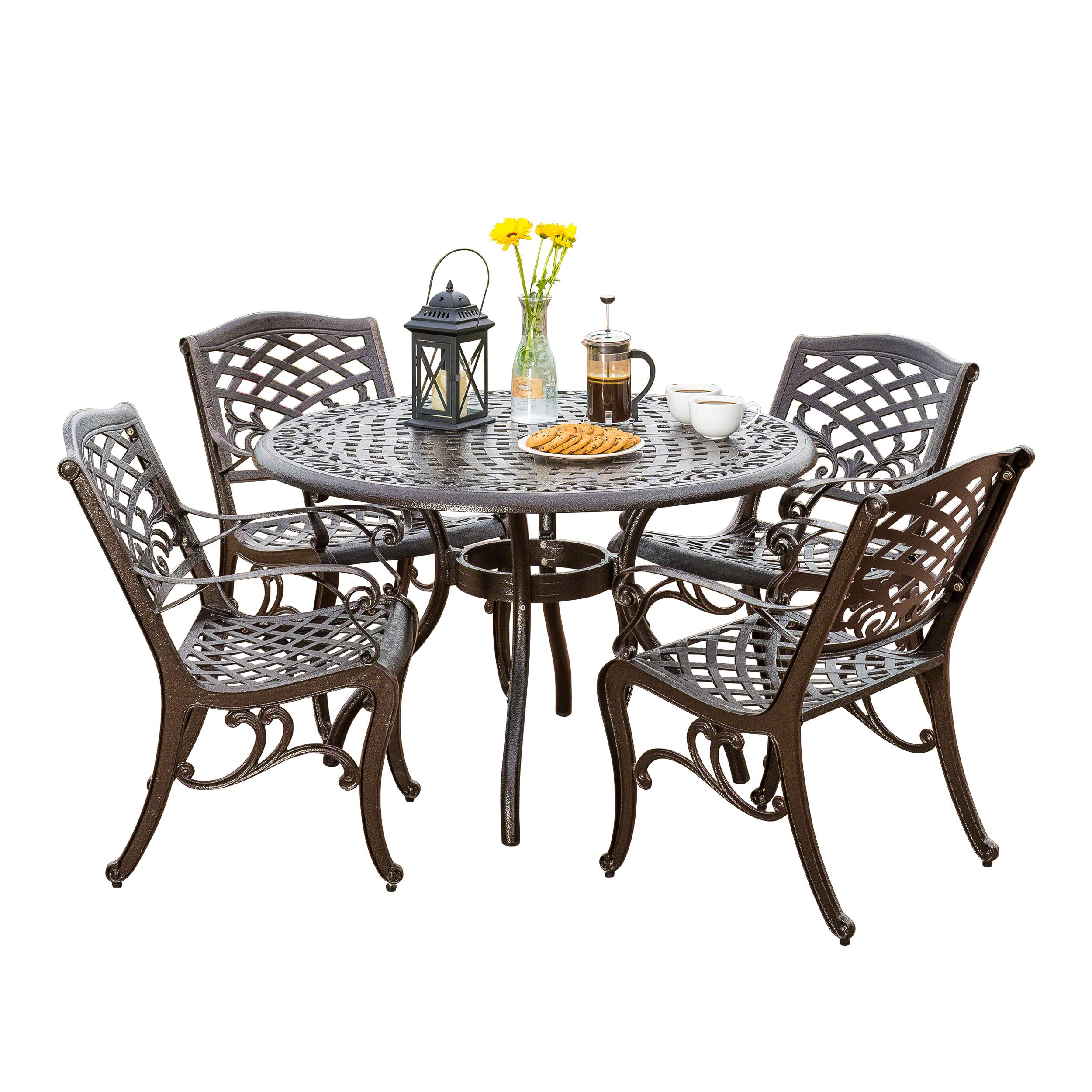 Great deal furniture covington 5 piece cast aluminum outdoor dining set perfect for patio in bronze