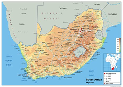 Cartina South Africa.South Africa Physical Map Paper Laminated A2 Size 42 X 59 4 Cm