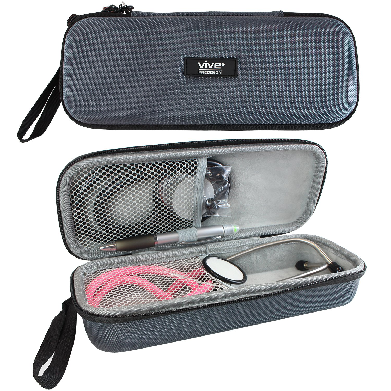 Vive Precision Stethoscope Case - Hard Protective Carry Cover with Handle - Fits Vive Precision and Other Cardiology Brands - Doctor and Nurse Accessories (Classic Gray)