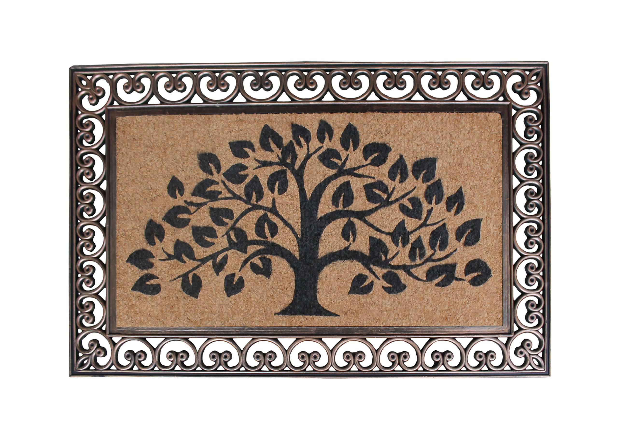 A1 Home Collections First Impression Hand Finished Rubber and Coir Tree of Life Classic Paisley Border Extra Large Double Doormat (30'' x 48'')