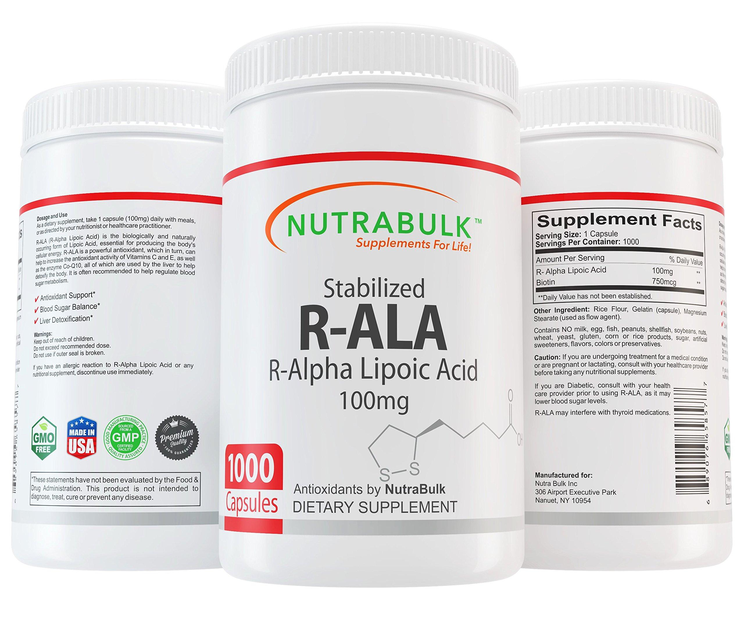 NutraBulk R-ALA (Alpha Lipoic Acid) 100mg Capsules 1000 Count
