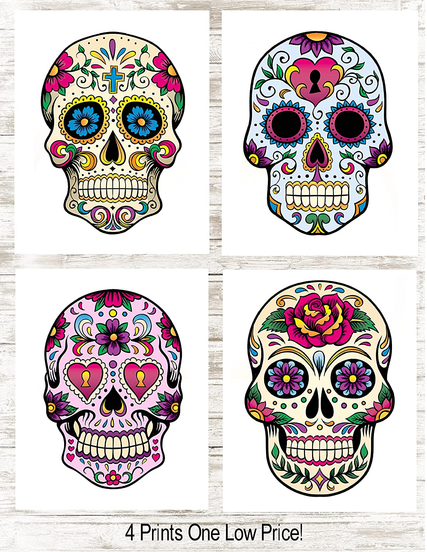 Amazon.com: Sugar Skull Decor Art Prints   Set of 4 Photos 8x10 ...