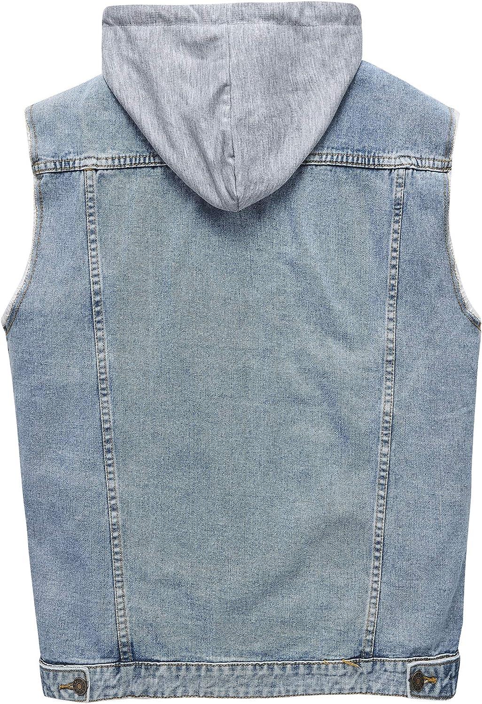 Heihuohua Mens Casual Button-Down Denim Vest Trucker Jean Jacket with Hoodie