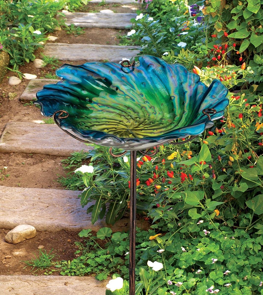 Regal Art & Gift Birdbath/Feeder with Stake, Blue