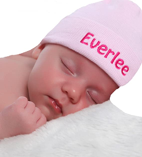 5b4326ec6fa Image Unavailable. Image not available for. Color  melondipity Solid Pink Personalized  Newborn GIRL hospital hat ...