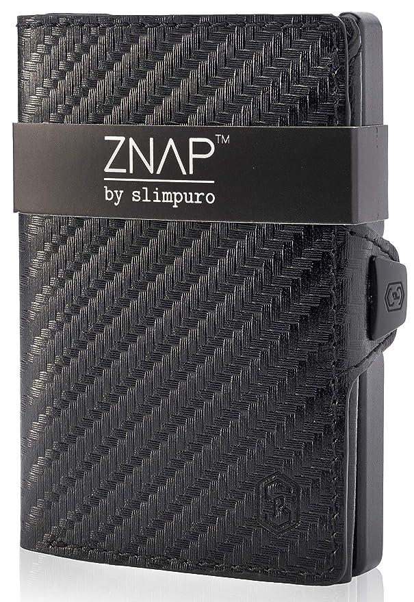 ZNAP Kreditkartenetui mit Geldklammer Aluminium und Münzfach - RFID Schutz - Slim Wallet - bis 8 Karten - Geld Clip von SLIMPURO (Carbon, 8 Karten)