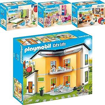 PLAYMOBIL® City Life 4er Set 9266 9267 9270 9271 Modernes Wohnhaus + ...