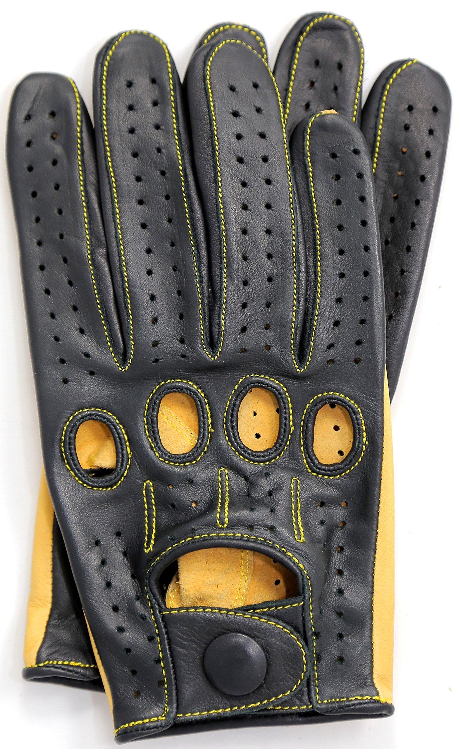 Riparo Genuine Kangaroo Leather Full-finger Driving Gloves (X-Large, Black/Camel)