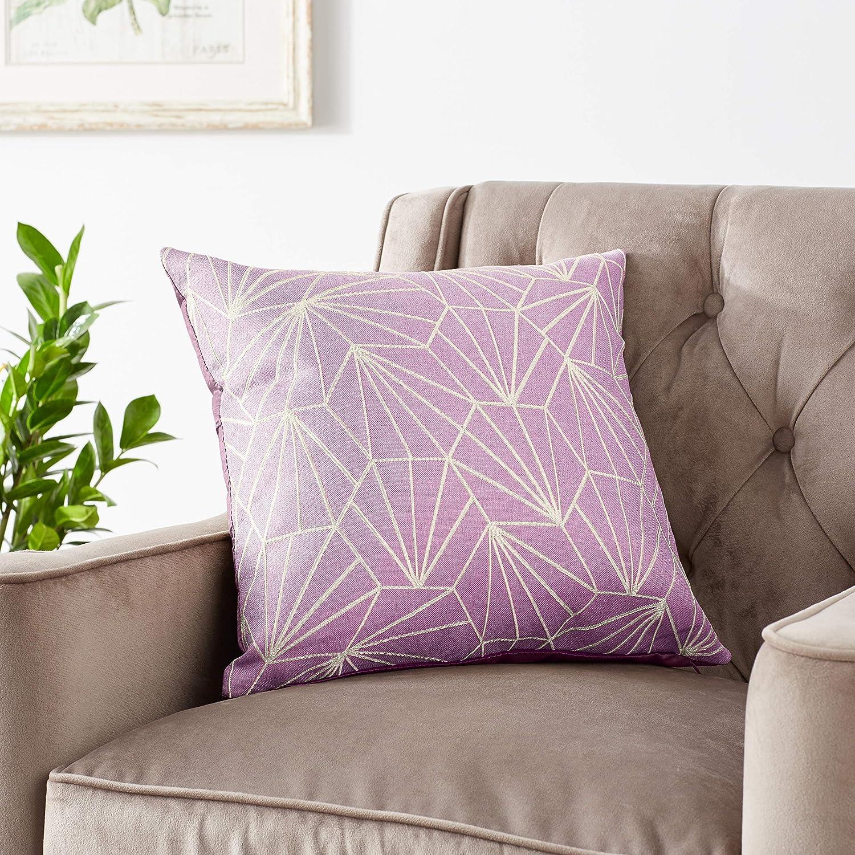 Violet Linen Victoria Chenille Abstract Haxegon Design Decorative Throw Pillows 18 X 18 Mint