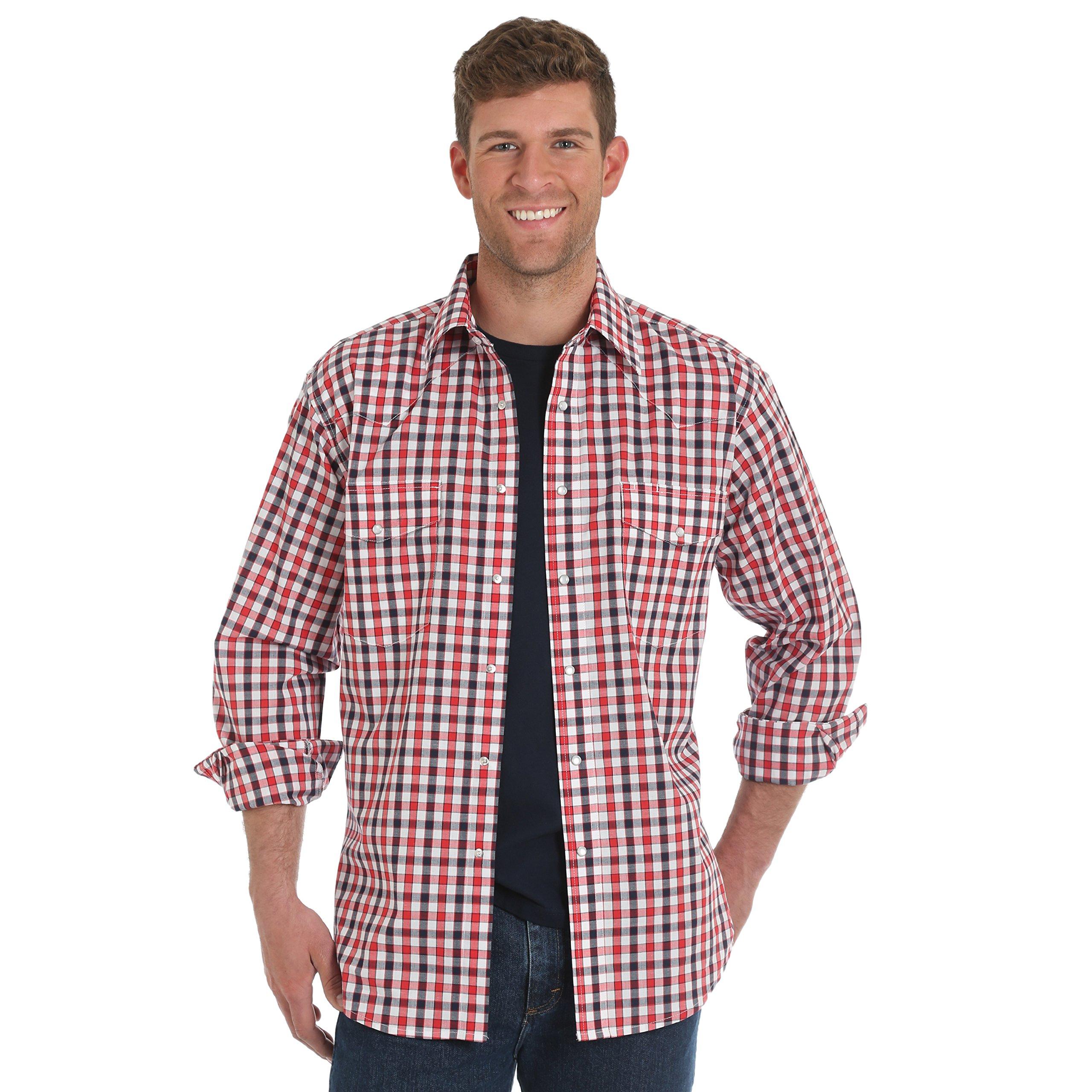 Wrangler Men's Wrinkle Resist Two Pocket Long Sleeve Snap Shirt, Red/Blue Plaid, L