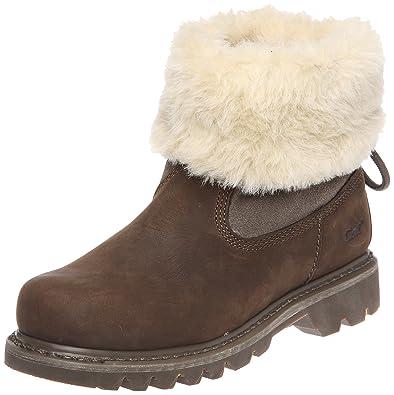 CAT Caterpillar Bruiser Scrunch Fur Ankle Boots Womens Slip On Winter Shoes