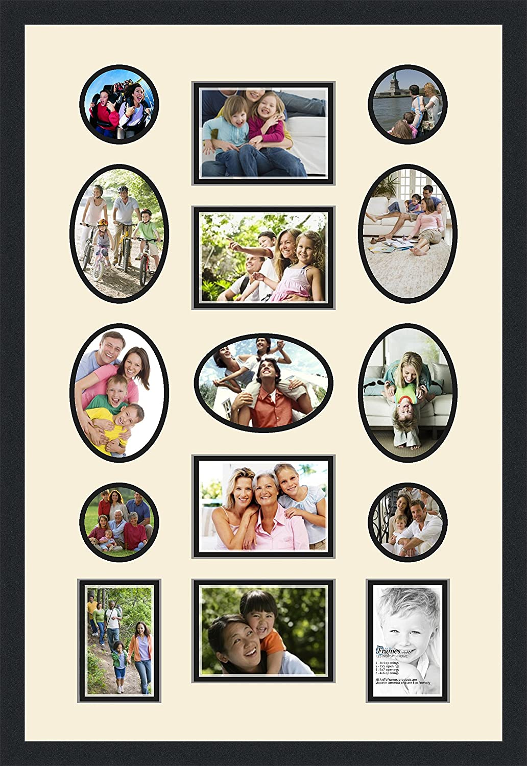4x6 and 4-4x4 and 9-5x7 Openings and Satin Black Frame x Art to Frames Double-Multimat-681-128//89-FRBW26079 Collage Photo Frame Double Mat with 1