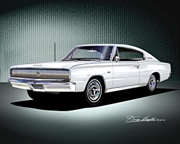 White Dodge Charger >> Amazon Com 1966 1967 Dodge Charger White Art Print Poster