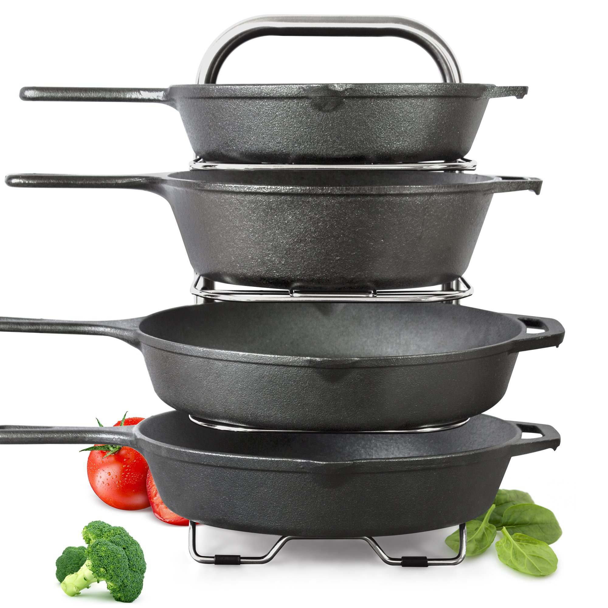 "BetterThingsHome 5-Tier Height Adjustable Pan and Pot Organizer Rack: Adjust in increments of 1.25"", 10, 11 & 12 Inch Cookware Lid Holder, Stainless Steel (16.5'' Tall)"