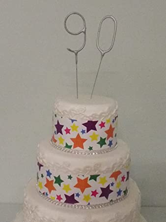 Sparkler Sparkling Number Birthday Cake Candles Age Aged 90 90th