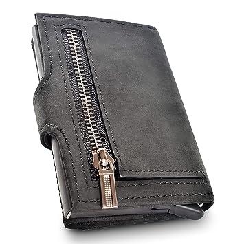 Geldbörse mit RFID Schutz für Herren Zip | Aluminium Kartenetui | Auslesesichere Automatische Pop up Mechanismus | Echte Rindsleder Crazy Horse |