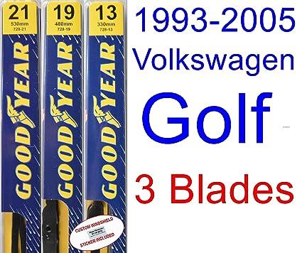1993-2005 Volkswagen Golf Replacement Wiper Blade Set/Kit (Set of 3 Blades