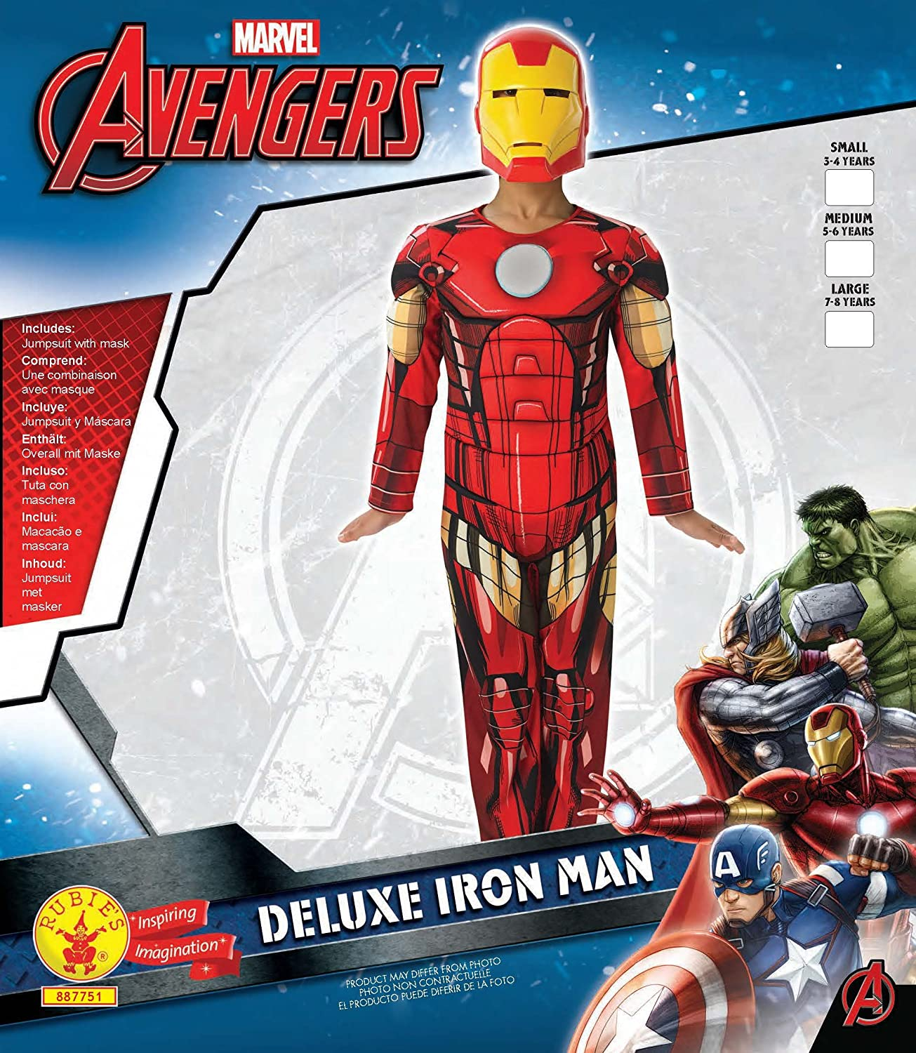 Amazon.com: Marvel Avengers Assemble Iron Man (Deluxe) - Kids Costume 5 - 6 years: Toys & Games