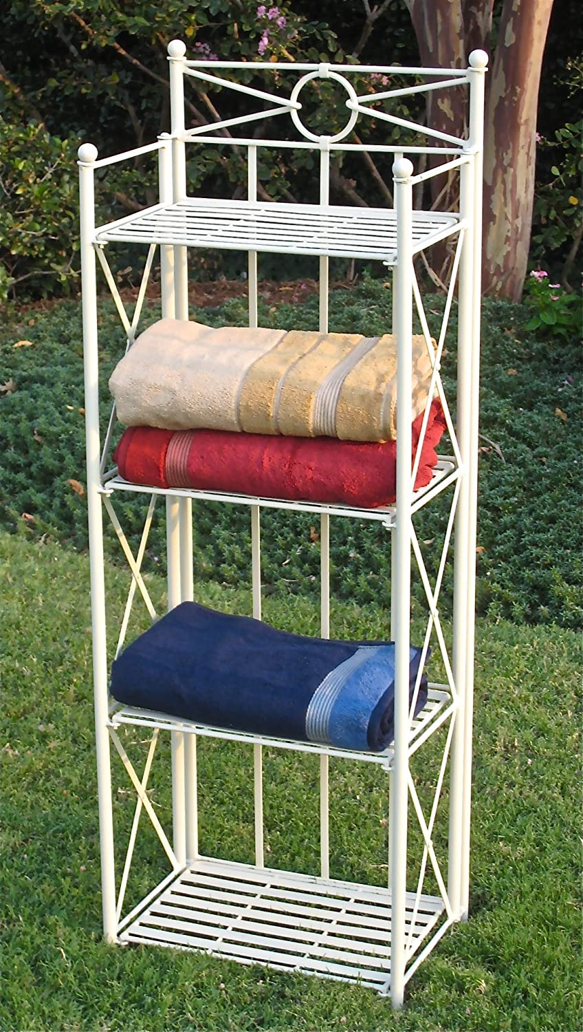 International Caravan Iron Folding 4-Tier Indoor Outdoor Bakers Rack