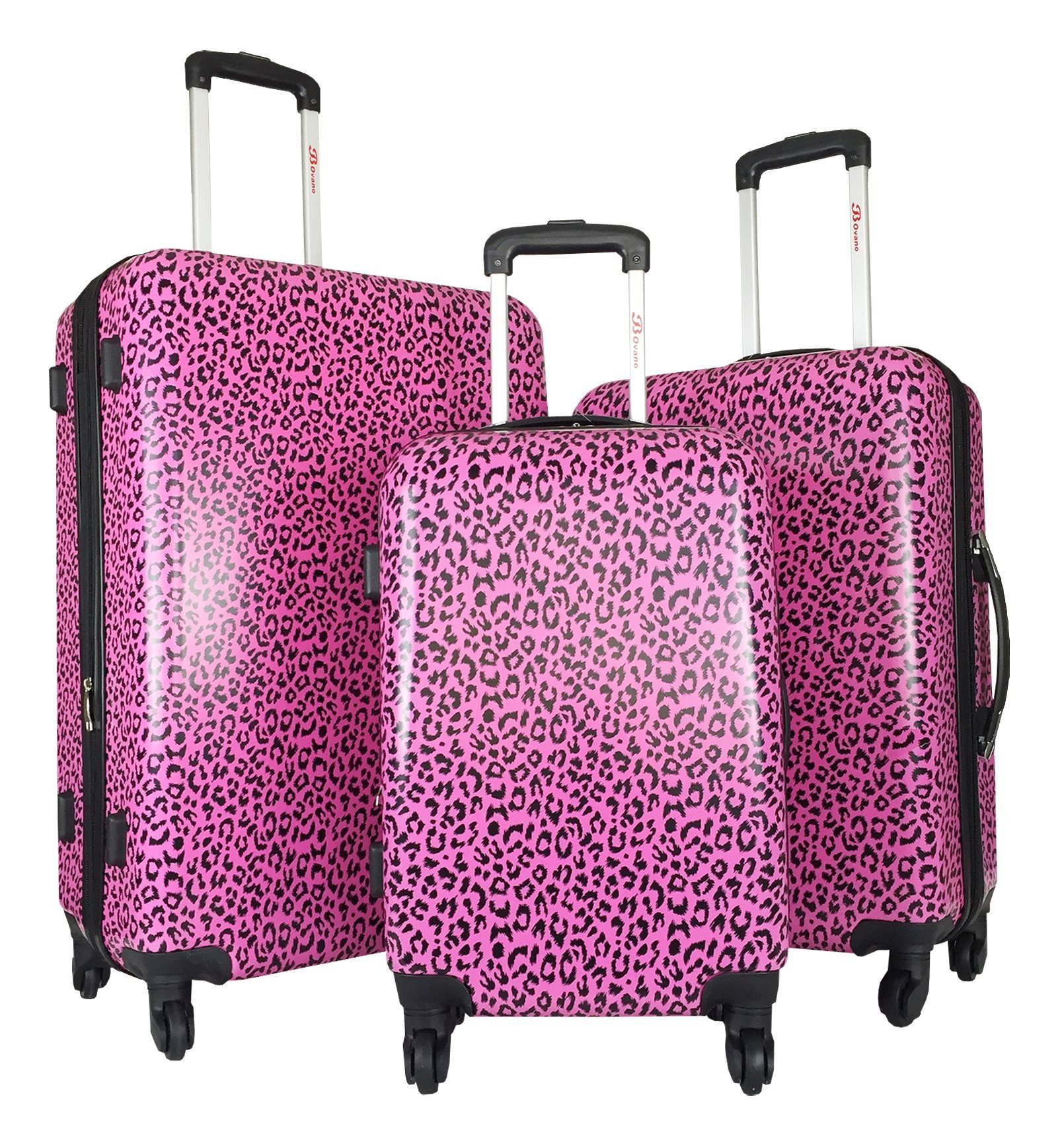 3pc Luggage Set Hardside Rolling 4wheel Spinner Carryon Travel Case Poly Pink Cheetah by Trendy Flyer