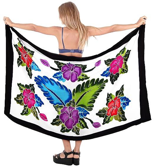 262f0d6d80 LA LEELA Rayon Hawaiian Women Wrap Suit Sarong Printed 78 quot X43 quot   Black 4859